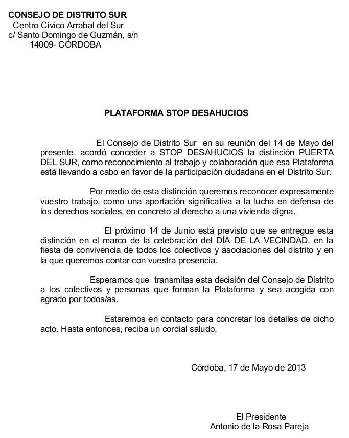 escrito STOP DESAHUCIOS distrito Sur